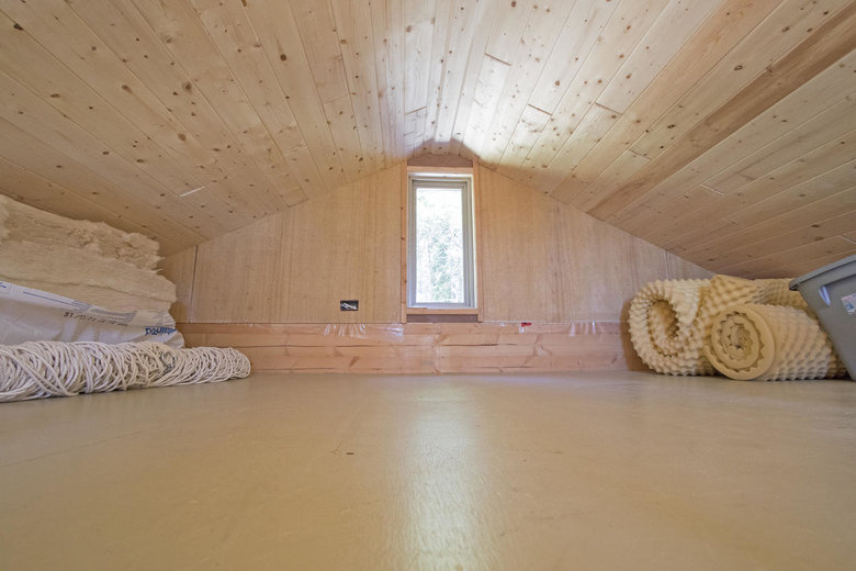 tiny home loft on Saturna Island